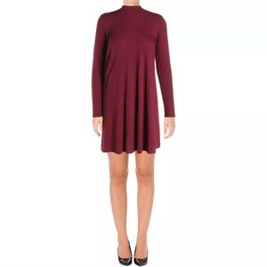{Aqua} Burgundy Long Sleeve Party Dress Size S